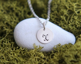 SALE Personalized necklace, Hand Stamped Initial Necklace, Sterling Silver Personalized Necklace, Monogram Jewelry, Personalized Jewelry