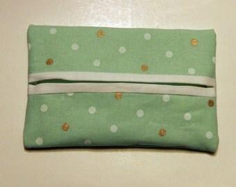 Light Green Travel Tissue Holder, Travel Tissue Cozy, Pocket tissue holder
