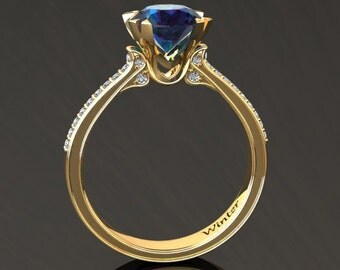 Alexandrite Engagement Ring Alexandrite Ring 14k or 18k Yellow Gold Matching Wedding Band Available W18ALEXY