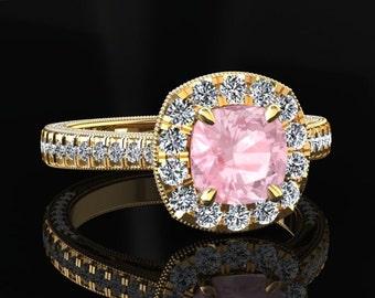 Morganite Halo Engagement Ring Cushion Cut Morganite Ring 14k or 18k Yellow Gold Matching Wedding Band Available SW6MORGY