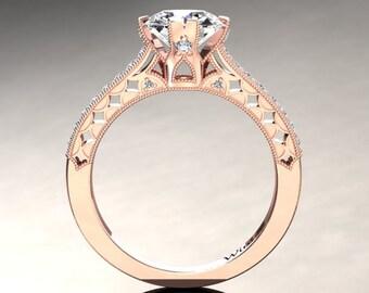 Moissanite Engagement Ring Moissanite Ring 14k or 18k Rose Gold Matching Wedding Band Available W1MOISR