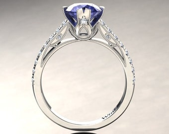 Tanzanite Engagement Ring Tanzanite Ring 14k or 18k White Gold Matching Wedding Band Available W2TANZW