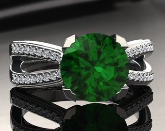 Emerald Engagement Ring Emerald Ring 14k or 18k White Gold SW7GW
