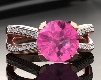Pink Sapphire Engagement Ring Pink Sapphire Ring 14k or 18k Rose Gold SW7PKR