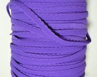 Bra / Knicker Making Elastic. Purple scallop edge, plush back. 12mm wide. Sewing Craft