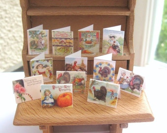 dollhouse thanksgiving cards x 12  vintage design 12th scale miniature Rainbowminiatures