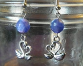 Silver plated Swans charm with Jasper Purple beads earrings,