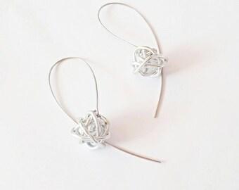 Silver earrings Minimalist earrings Modern earrings Contemporary earrings Long earrings Stainless steel earrings Handmade Dangle earrings.