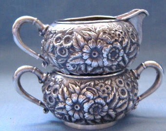 Sterling Silver Creamer and Sugar Set Repousse