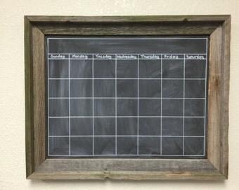 """Barnwood Dry Erase Chalkboard Calendar, Custom Frame, 21"""" x 17"""""""