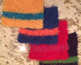4 Colorful Kitchen Scrubbies made with 100% Polyester Red Heart Scrubby Yarn