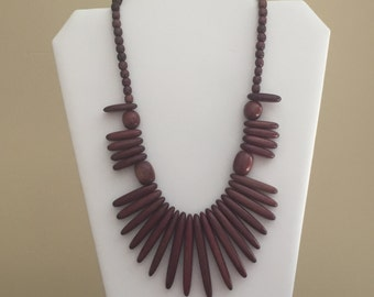 Vintage Wooden Statement Necklace