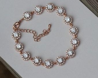 rose gold bracelet , bridal bracelet bridesmaid bracelet wedding bracelet wedding jewelry bridal jewelry