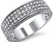Mens Modern .55ct Round Pave Diamond Band Ring 14k White Gold