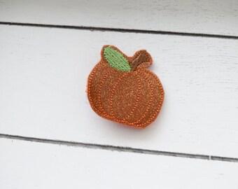 Handcrafted Glitter Pumpkin Feltie Clip - Glitter Pumpkin Accessory - Pumpkin Patch Bow - Small Hair Clip - Baby Pumpkin Bow - Stocking Bow