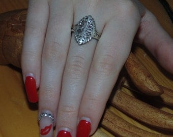 Free Shipping SR259 Antique Vintage All Filigree Front Victorian Art Deco 1920's Sterling Silver US Size 7 Ring 925 Jewelry Jewellery