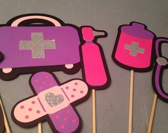 6 pc Doc McStuffins inspired centerpiece, Doctor party