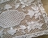 Art Lace Doily French Antique 1930's Beige Cotton Handmade Lace Table Center Floral Doily