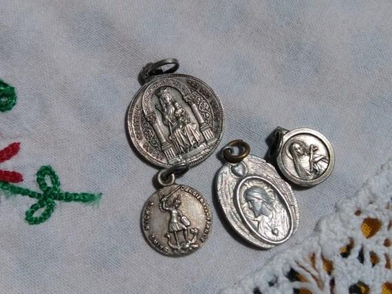 4 Antique French Silver Medals Virgin Mary Saint Victor Saint Rita Saint Michel Our lady Good help Heart of Jesus #sophieladydeparis