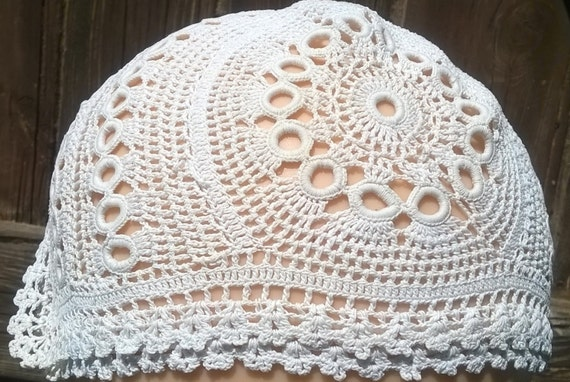 Hand Crocheted Baby Bonnet Antique French Lace New Born Hat 1900's Off White Cotton Doll's Hat  #sophieladydeparis