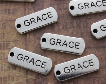10 GRACE Charms GRACE Pendants Antiqued Silver Tone  8 x 21 mm
