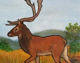 "original custom ACEO art card 2,5""x3,5"" 6,4x8,9cm collector card | fantasy - animals - nude | commission SFA (Small Format Art) deer horse"