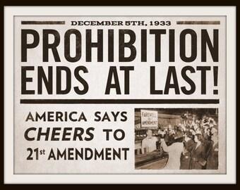 Prohibition Ends 1933 - Print