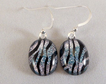 Silver and Black Dichroic Fused Glass Dangle Earrings, Zebra, Fused Glass, Fused Glass Earrings, Glass Earrings, Dichroic Earrings, Dangle