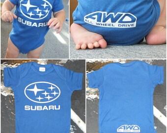 Subaru AWD Blue Baby Onesie