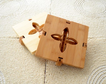 Fleur Trivet in ecofriendly bamboo, hot plate, wood trivet, wood coaster, table centerpiece, housewarming gift, natural wood trivet