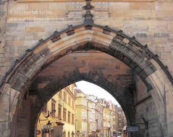 Prague Photography - Archway - Beautiful Architecture - Bridge - European Romantic Wall Decor - Art Print