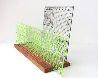 Quilting template storage table top rack, quilt ruler holder, repurposed / reclaimed cherry or walnut wooden template rack