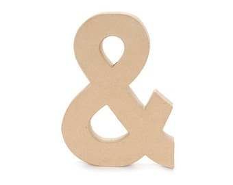 CLEARANCE Paper Mache And Symbol Ampersand Unfinished Letter Shape - Home Decor