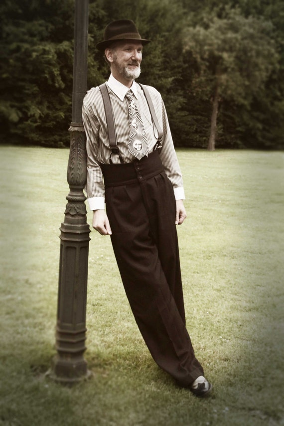 1920s Style Men's Pants & Plus Four Knickers 1920s oxford bags vintage style college pants high waisted trousers lindy hop pants $283.24 AT vintagedancer.com