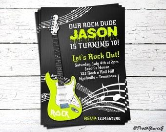 Rock Star Invite // Personalized Printable Lime Green Guitar Rock Dude Birthday Invitation // Rock n roll Invite // Rock n Roll Birthday