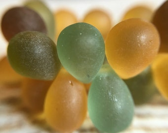 Green mixed color 6x9mm teardrop Czech beads, green, yellow and rust drop beads