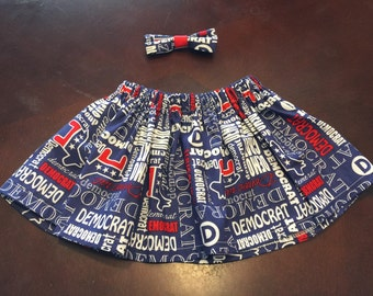 Democrat Baby outfit. Red, White, Blue Democrat Baby Skirt. 2016 election democrat outfit. Democrat fabric