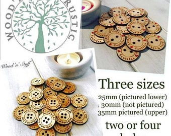 20 Personalised Engraved Wooden Buttons - three sizes