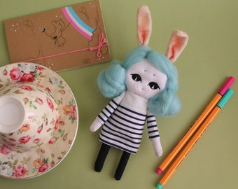 Ooak doll, kawaii, Parisian Girl with Freckles OOAK, handmade doll, art, home decor, dolls, gift, kawaii gift