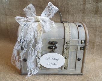 Small Shabby Chic Wedding Wishes Trunk, Wedding Advice Box, Guest Book Alternative, Wedding Wishing Well, Wish Box