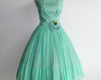 50's Cute Green Chiffon Party Dress