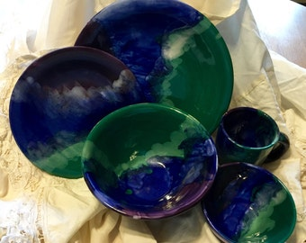 Shades of the Ocean Ceramic Dinner Ware Set of 5