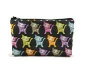 Cat Toiletry Bag, Zippered Cosmetic Bag, Kitten Zippered Pouch, Makeup Bag, Tampon Case,  Coin Purse, Gadget Bag, Zippered Bag