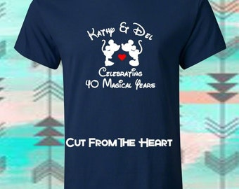 "Custom Personalized Mickey & Minnie ""Love"" T's.. Perfect For Your Anniversary, Wedding Or Honeymoon"