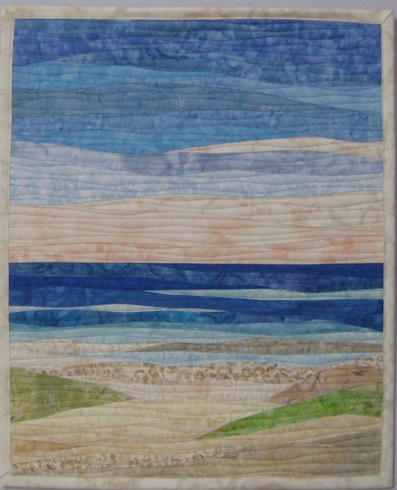 Art Quilt Ocean With Dunes 2 Landscape Art Quilt Beach Wall