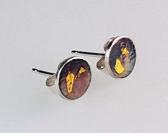 Handmade Small Textured Keum-Boo Oxidised Stud Earrings