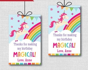 Unicorn Birthday Party Favor Tags - Unicorn Themed Birthday Party - Digital Design or Handcrafted Tags - FREE SHIPPING