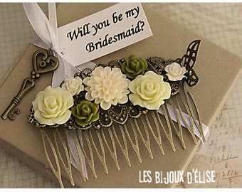 Ivory and Kaki Flower Hair Comb Wedding Cimb Bridal Comb Bridesmaid Comb Art Nouveau Style (HC23)