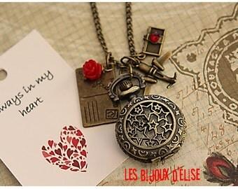 Distancec Realation Watch Star Pocket Watch Pendant Necklace Long Distance Relationship Victorian Style Bronze Antique