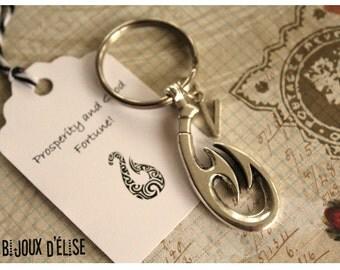 Personalized Maori tribal Symbol Matau Keychain Antique Silver Unisex Keychain